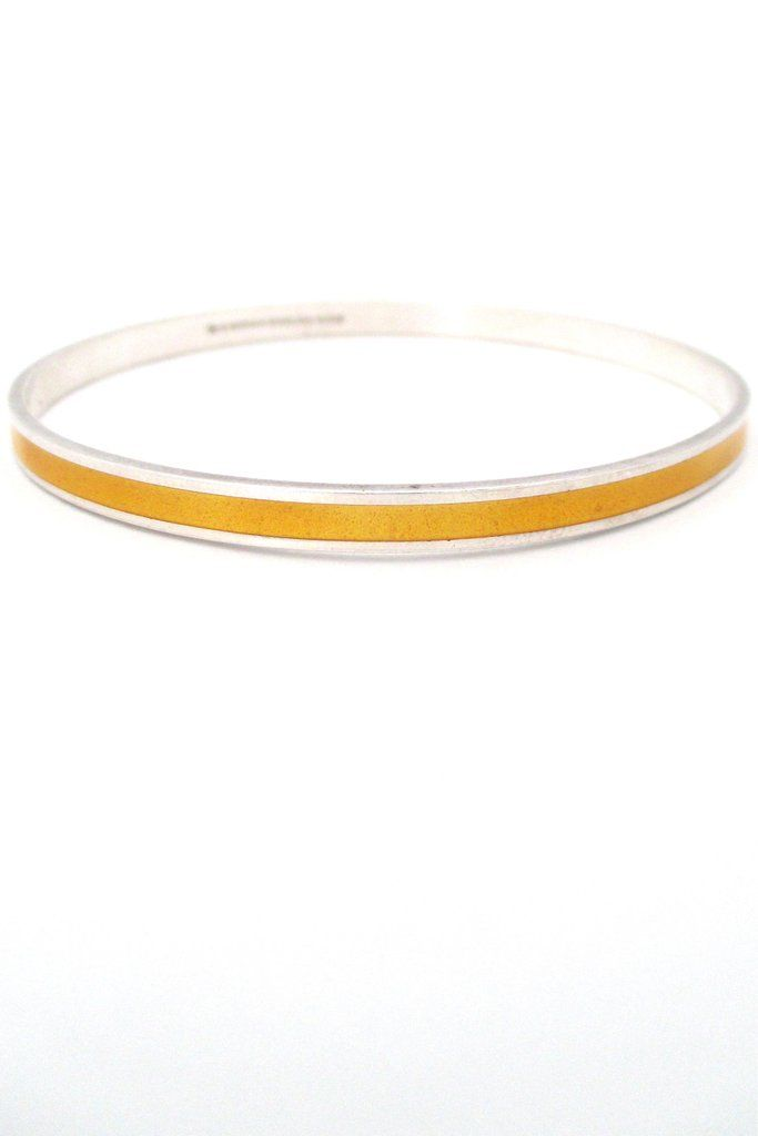 David-Andersen sterling silver & enamel bangle - yellow