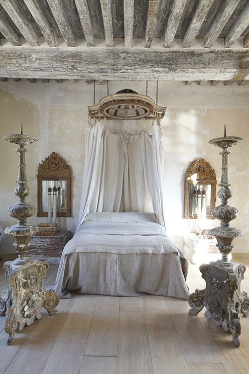 French Bedroom: Canopy, Linens, Mirrors, Plaster Elements, Distressed  Timber And Wood