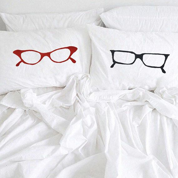 Hand drawing Couple pillowcase Hipster glasses by CreativePillowLV