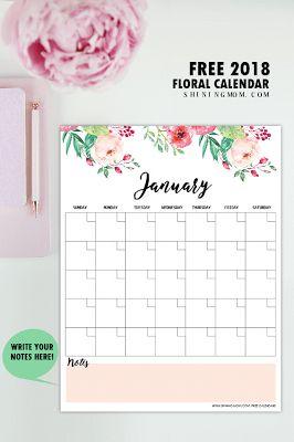write in calendar 2018