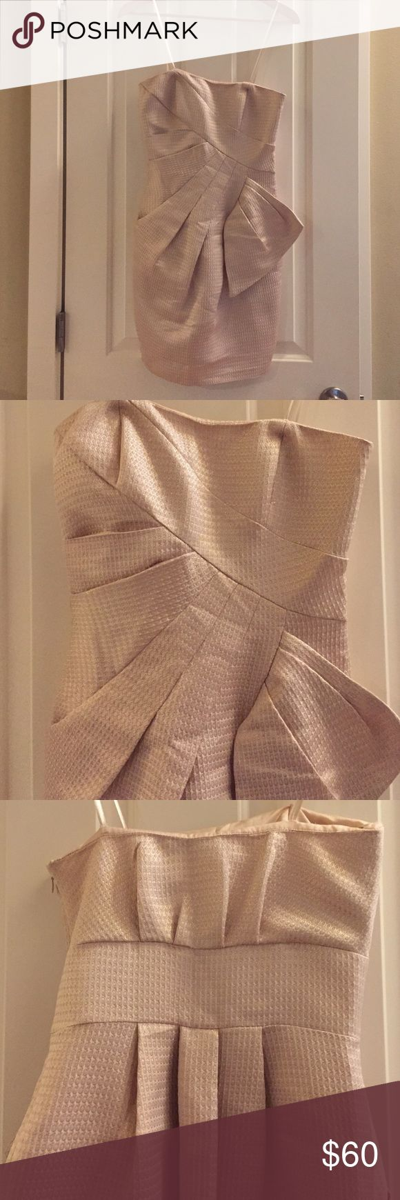 BCBG rose champagne metallic cocktail dress sz2 Beautiful jacquard strapless dress from BCBG's Max and Cleo. Such a pretty color with pleated details and best of all, pockets! Great for prom, cocktail party or even NEW year's Eve!! BCBG Dresses Strapless