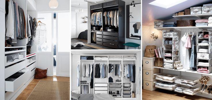 Armario IKEA integrado en una habitación, armario PAX negro sin puertas, armario de cuatro modulos blanco sin puertas, Zapatos y complementos guardados, ropa blanca colgada, Vestidos, ropa de cama, cajas y sistemas de almacenaje ALGOT
