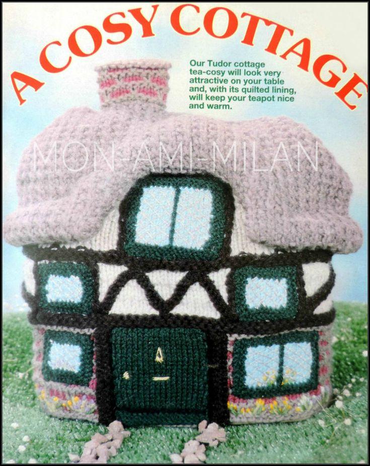 Vtg Knitting Pattern • ENGLISH TUDOR COTTAGE TEA COSY • NOVELTY TEAPOT WARMER