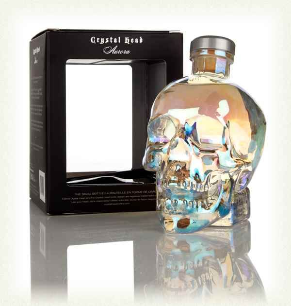 Crystal Head Aurora  It's Crystal Head vodka, but not as you know it! This 'iridescent' skull, a design based on the Aurora Borealis (or Northern Lights), contains vodka made from Yorkshire wheat rather than Canadian corn for a spicier spirit.