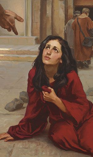 Article from March 2015 Ensign called 'The Savior's Respect for Women.' Love this image of the woman taken in adultery. The footnote in verse 11 (this is of John chapter 8) sheds a lot of light on who she was.