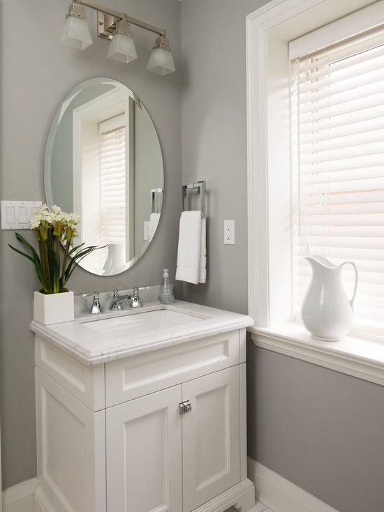 Bathroom Design, Transitional Powder Room Design With White Classic Vanity Also