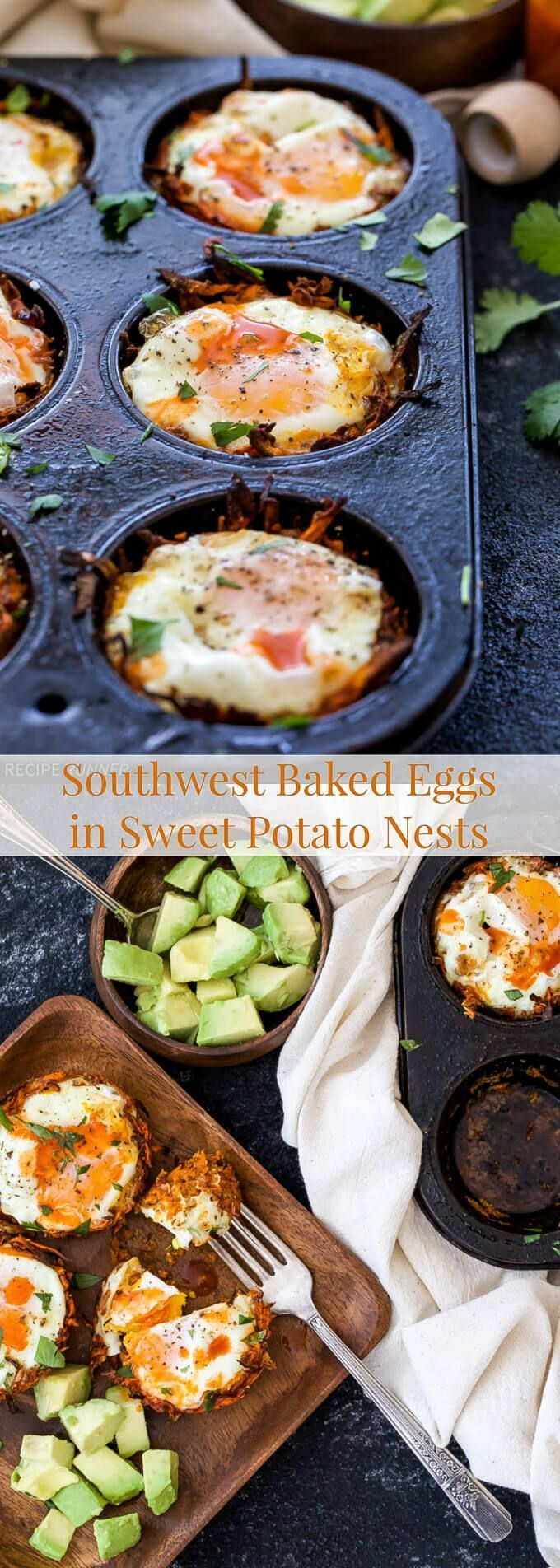 Southwest Baked Eggs in Sweet Potato Nests are perfect for brunch or a grab-and-go breakfast! Top them with your favorite hot sauce and avocado for a protein packed, vegetarian and gluten-free breakfast!