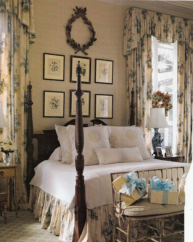 Classic English Style - wonderfully understated. Restful tones - note the bedskirt matches the drapes and the dark bedpost colour makes the picture frames pop out.