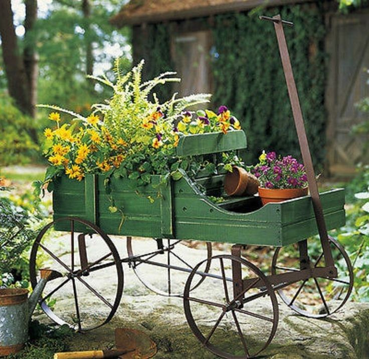 Wood Wagon Rolling Amish Country Cart Flower Plant Pot