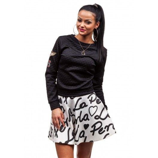Blúza bez kapucne pre dievčatá čiernej farby - fashionday.eu