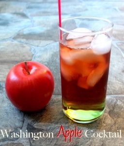 The Washington Apple Cocktail tastes a bit like a boozy apple. A healthy dose of whiskey combines with Sour Apple Pucker schnapps and cranberry juice. The taste is tart with underlying sweetness. http://mixthatdrink.com