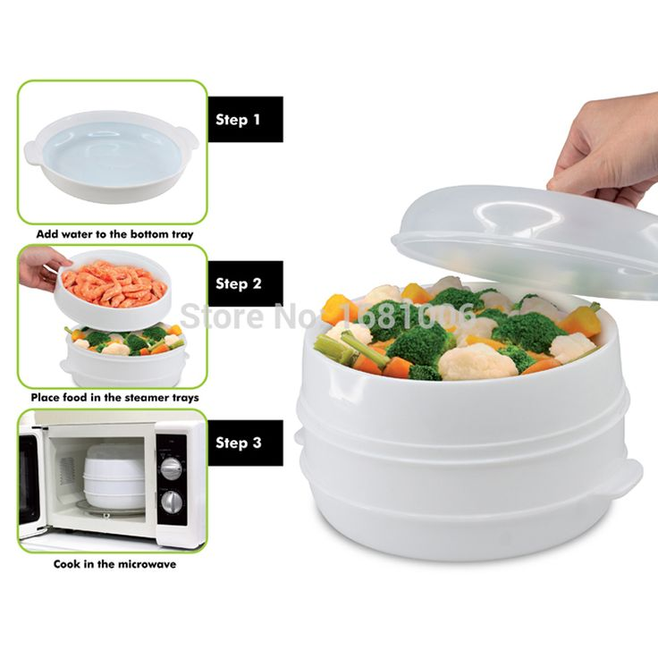 2 Tier Microwave Vegetable Steamer With Lid,BPA Free,White,suit Small  Kitchen