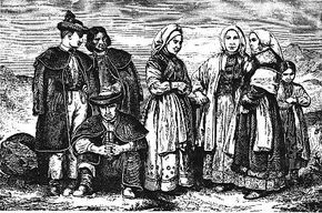 Engraved picture of Lemkos (Rusyns) from the village of Zawadka, Sanok County, Poland.