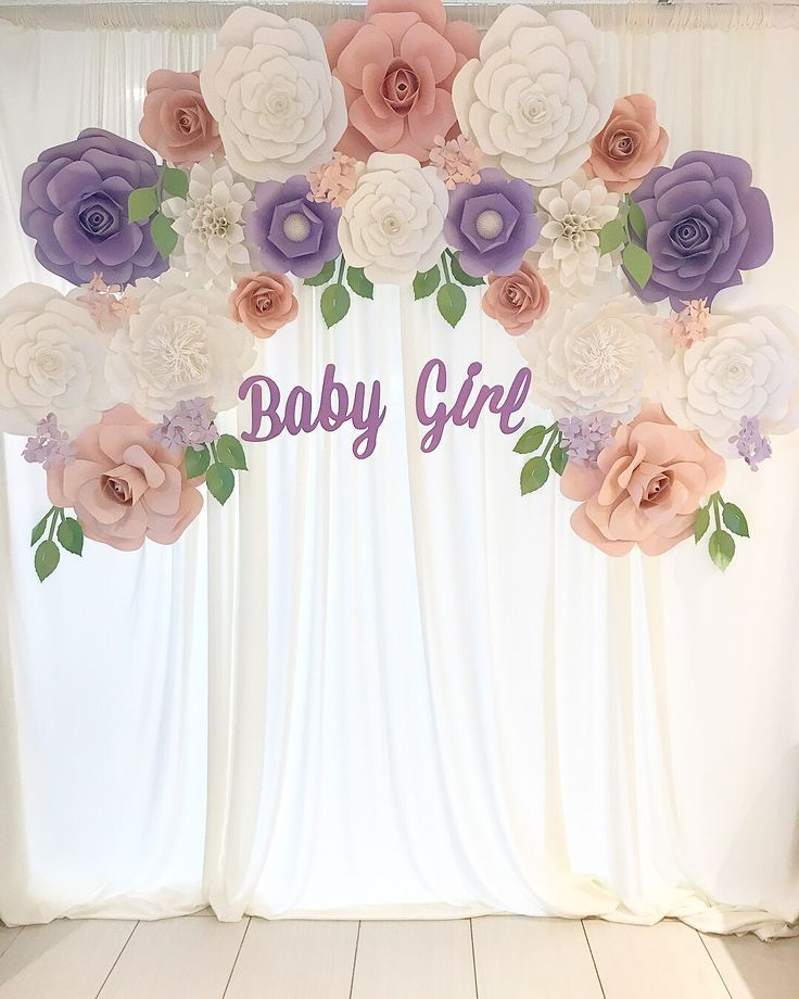Spring theme backdrop with pastel florals for a baby ...