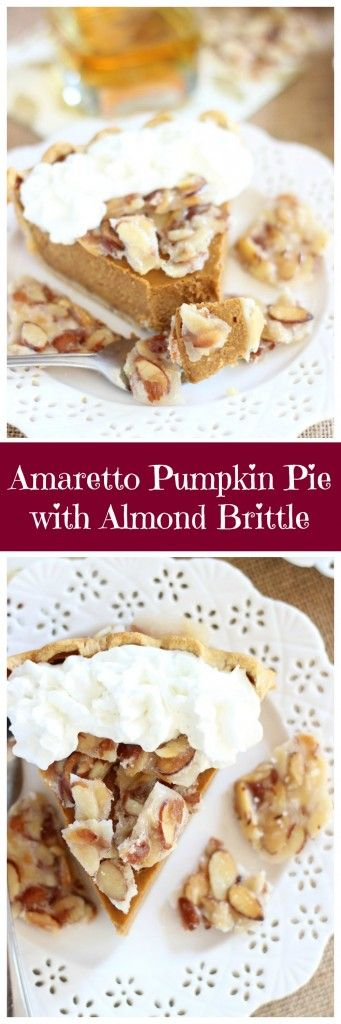 Pumpkin pie is spiked with amaretto, and topped with a quick and simple almond brittle. The brittle complements the amaretto flavor perfectly, and makes for an unforgettable and unconventional pumpkin pie!