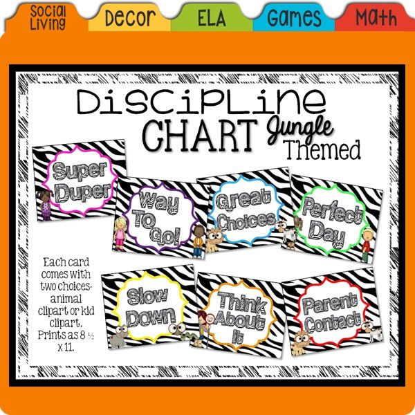 Are you looking to add to your JUNGLE themed classroom? Or start fresh with a new look? If so, this might be the set for you.  Our discipline chart has two choices - you can pick the little people themed with zebra print background, or you can pick the animal clip art with the zebra print background.