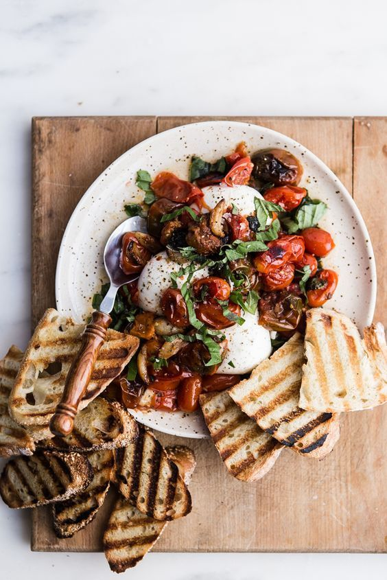 braised tomatoes and burrata