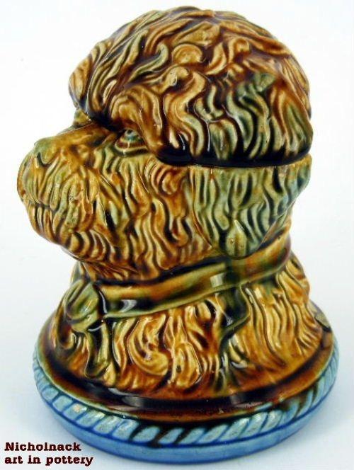 Bendigo Pottery dogs head tobacco jar