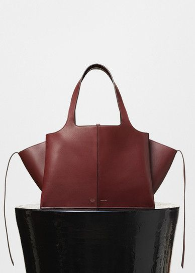 Medium Tri-Fold Shoulder Bag in Burgundy Supple Natural Calfskin - Céline