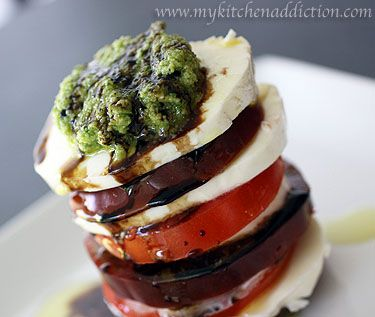 Tomato and Mozarella Salads with Garlic Scape Pesto by my kitchen addiction. #Salad #Tomato #Mozarella #Pesto #Garlic_Scrape #mycookingaddiction: Pesto Garlic Scrap, Garlic Scapes, Scapes Pesto, Garlic Scrap Mycookingaddict, Kitchens Addiction, Garlic Pesto, Mozarella Pesto, Salad Tomatoes, Mozarella Salad
