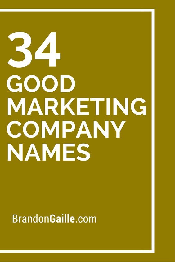 34 Good Marketing Company Names