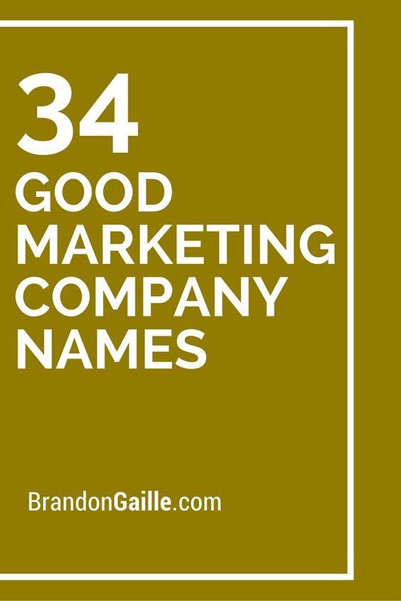34 Good Marketing Company Names