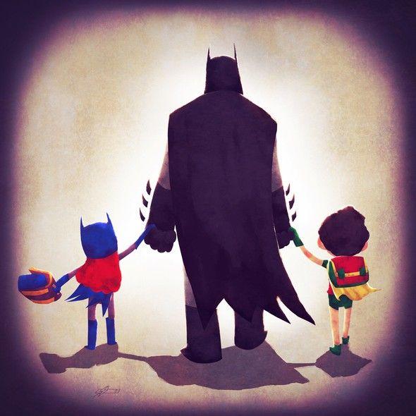 Nas ilustrações do artista francês, Andry Shango Rajoelina, antes de sair para combater vilões e salvar o mundo, os super-heróis precisam fazer uma atividade essencial: levar seus filhos para a escola