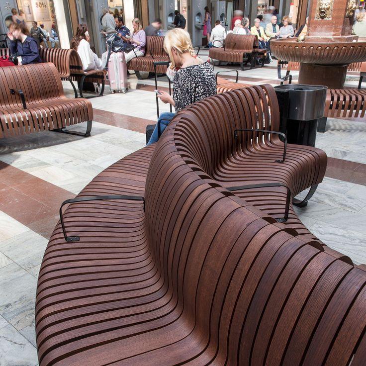 Green Furniture Sweden – Nova C with BackRest at Stockholm Central Station  #greenfurnituresweden #greenfurniture #JohanBerhin #ecofurniture #sustainabledesign #scandinaviandesign #novac  #novacwitharmrest #novacwithbackrest #StockholmCentralStation  #bench
