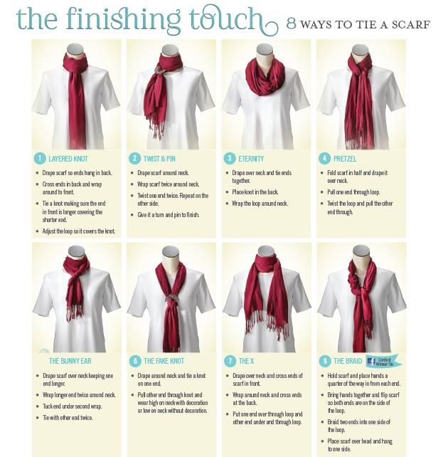 CJ Banks Looking for a fun way to wear your new fall scarf? Check out these 8 new and different ways to tie it (we included pictures and step-by-step instructions)!