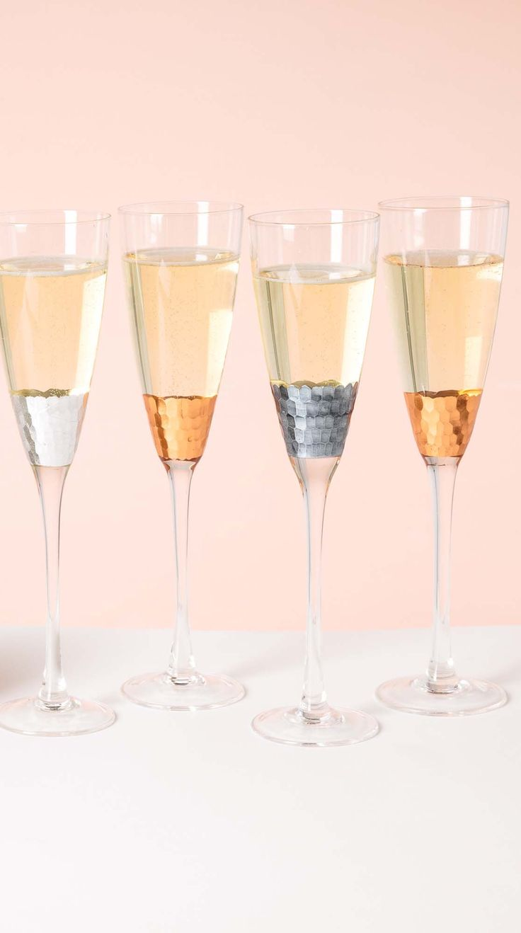 Mix your metals with our Set of Four Mixed Metallic Champagne Glasses. Perfect for a Christmas toast!