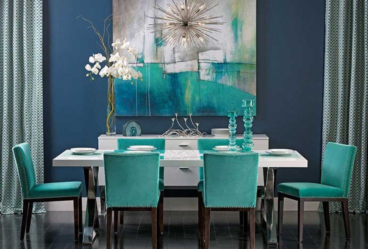 Turquoise Gem: Deep turquoise forms a popular color pair with navy blue and sets the scene against crisp white and metal surfaces. Alexa Dining Table, $949. Benjamin Moore Gentleman's Gray
