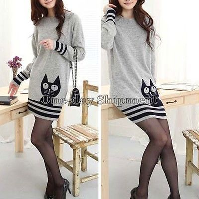 Chic-Women-Cat-Print-Warm-Long-Pullover-Sweater-Dress-Crewneck-Tops-Long-Sleeve