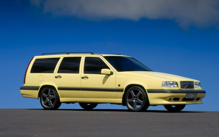 1995 Volvo T5-R ~ That boxy structure combined with a cream yellow set against those graphite wheels and power to boot!