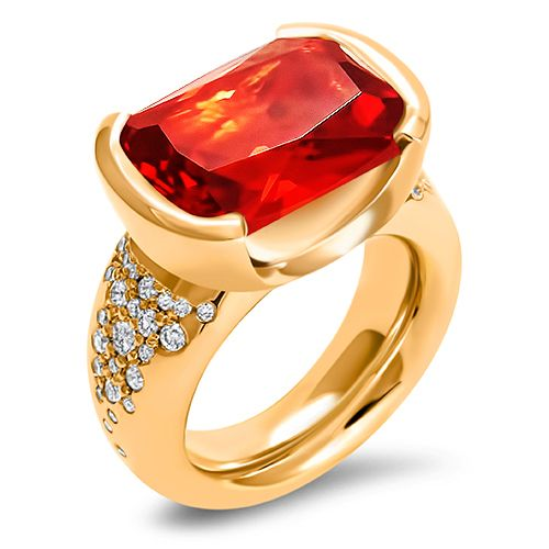 Inspired by the myth of Gyllenbuste, the shining boar ridden by Freyr, symbolising the sun in winter. A riot of colour and sparkle, heavy dress ring with cultivated orange sapphires and cultivated diamond encrusted 18 carat Fairmined Eco red gold. #hargreaves_stockholm #fwstockholm #aw17 #sustainablefashion #diamond #sapphire #goldtobeproudof #fairmined #fairminedgold