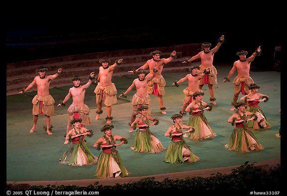 Hawaiian dancers on stage. Polynesian Cultural Center, Oahu