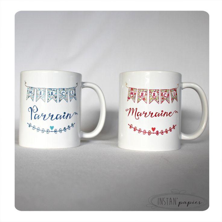 """DUO de mugs """"merci parrain - merci marraine """" idéal cadeau de baptême - illustration en liberty bleu avec cage à oiseau : Vaisselle, verres par instanpapier"""