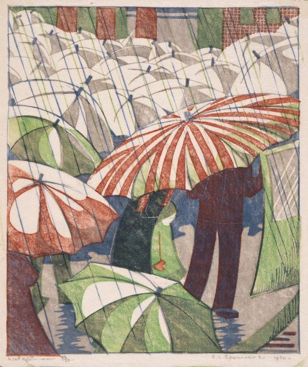 Wet afternoon, (1929-1930) by Ethel Spowers (Australia) linocut, printed from four blocks on thin ivory laid tissue