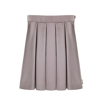 Pleated Satin Skirt – Mink. A gorgeous and sumptuous full, knee length skirt, pleated at the waist to give a dramatic and bold silhouette.  Outer: 96% Polyester, 4% Elastane. Lining: 100% Acetate. Trim: 100% Nylon. Gentle Dry Clean only.