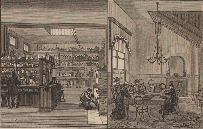 Laboratory and ladies' reading room in the Sydney School of Arts June 1879. 1879    From the collection of the State Library of New South Wales [TN115] (Illustrated Sydney News 14 June 1879 p 4)