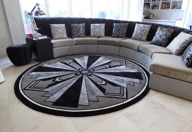 Contemporary Art Deco Round Living Room Rug