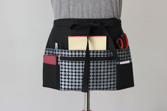 Vendor Apron - Waitress Apron - Craft Apron - Teacher Apron - Half Apron - zipper pocket - Black Metallic Silver Dot MADE to ORDER