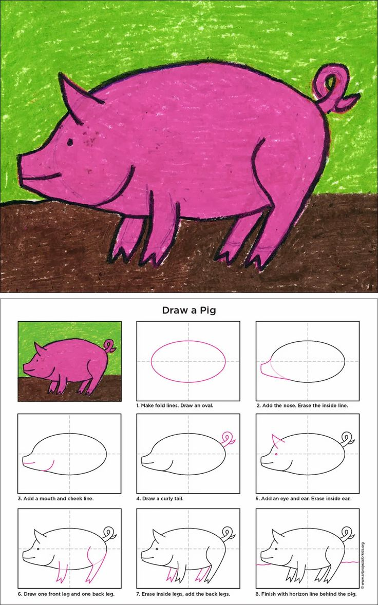 Art Projects for Kids: How to Draw a Pig. Free downloadable pdf tutorial.