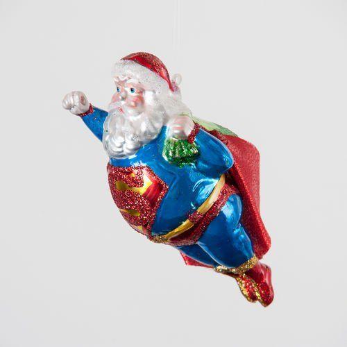 SUPER SANTA Superman Glass Christmas Ornament Glitter Accents