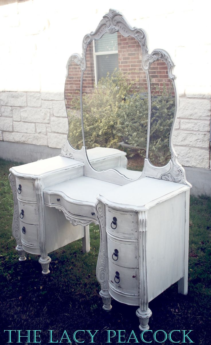 White Antique Vanity / Dressing Table with Triple Mirror. $475.00, via Etsy.