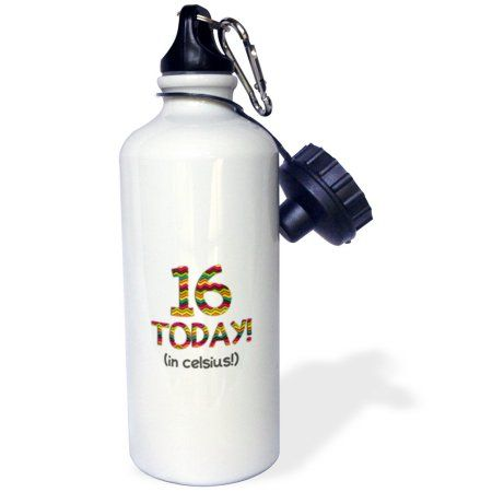 3dRose 16 Today… in celsius - Funny 60th Birthday. 16C is 60 in fahrenheit, Sports Water Bottle, 21oz