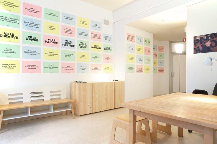 Local de campagne - Premices and co. Conception Du local et de l'identité de campagne en collaboration avec H5 pour l'équipe d'Anne Hidalgo pour les élections municipales parisiennes 2014. #paris #project #design #spacedesign #furniture #architecture #office #graphicdesign #postit