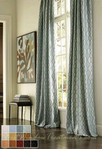 Ready-made curtains, that look like custom draperies (options for lining/interlining or blackout + grommets or back-tabs) -in standard size drapes (84"