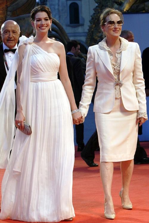 Anne Hathaway and Meryl Streep.  Are those Pradas, Meryl?!