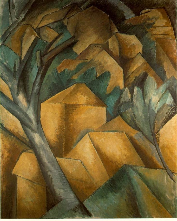 Bron : http://www.rudedo.be/amarant02/les-7-08032013/kubisme/braque-huizen-te-l-estaque-1908/ Georges Braque, Huizen te L'Estaque 1908, 40,5 x 32,5 Lille Métropole Museum of Modern, Contemporary and Outsider Art (geraadpleegd op 06-05-2016)(geometrisch kubisme)