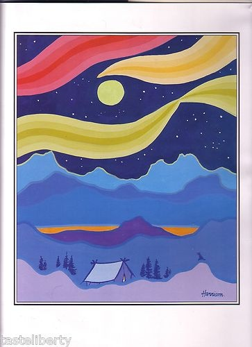 PRINT Art TED HARRISON Klondike TENT Trapper GOLD Northern Lights MOON Camping